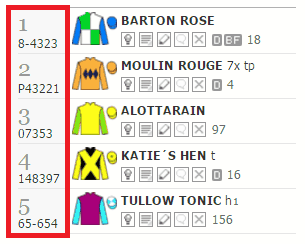 What do the form numbers mean in horse racing
